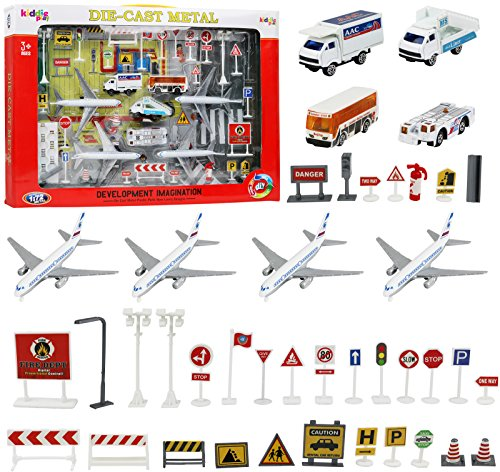 - Kiddie Play Kids Airport Playset with Toy Airplane Vehicles and Accessories (43 Piece Set)