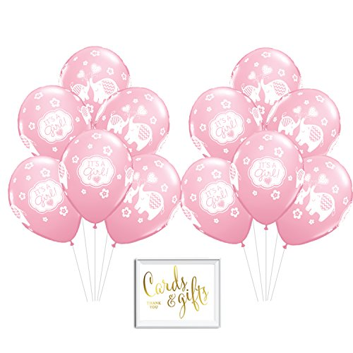 Andaz Press Bulk High Quality Latex Balloon Party Kit with Gold Cards & Gifts Sign, Girl Elephant Pink Baby Shower Printed 11-inch Balloons, Wholesale 50-Pack