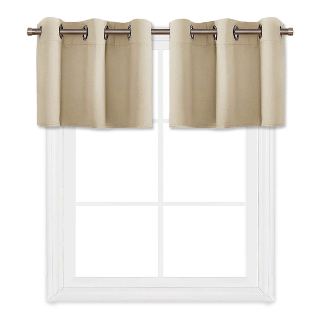 PONY DANCE Beige Window Curtain Valances 18'' Mordern Home Decorative Ring Top Light Blocking Tiers Short for Kitchen Cafe Bar,42 by 18 Inch, Set of 2