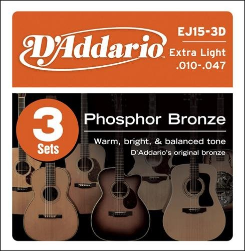 D'Addario EJ15 Phosphor Bronze Extra Light Acoustic Strings 3-Pack ()
