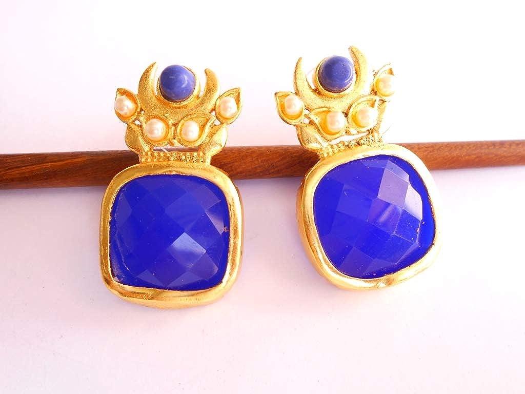 Ethnic Traditional Handmade Rajasthani Design Golden Plated Blue Stone Earring DSCN9157