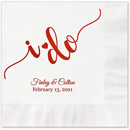 (I do Calligraphy Personalized Beverage Cocktail Napkins - 100 Custom Printed White Paper Napkins with choice of foil)