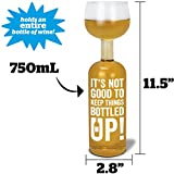 BigMouth Inc Original Wine Bottle Glass -It's not good to keep things bottled up!, Funny Novelty Wine Glass, Holds 750 ml