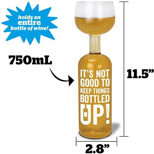 "BigMouth Inc Original Wine Bottle Glass - ""It's not good to"