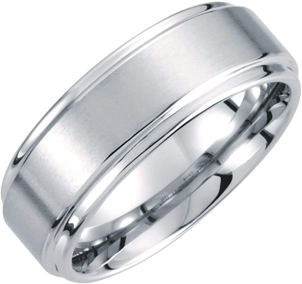 Jewels By Lux White Tungsten 8mm Satin Finished Ridged Wedding Ring Band with Rounded Edge Size 14