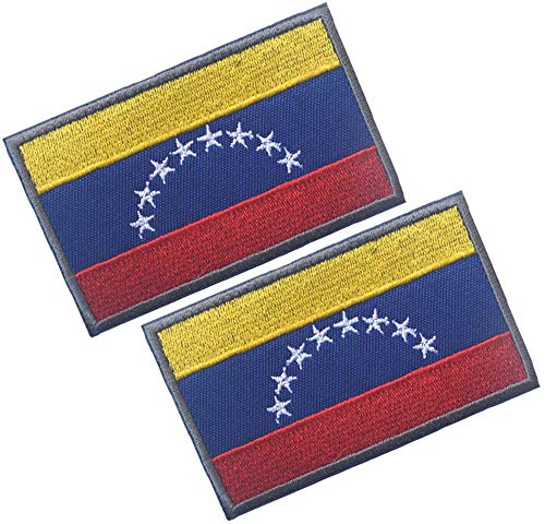 HFDA 2 Piece Different Country Flags Patch - Tactical Combat Military Hook and Loop Badge Embroidered Morale Patch -