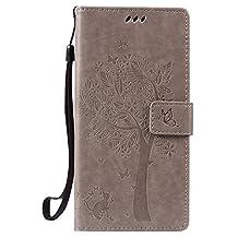 NEXCURIO [Embossed Tree] Google Nexus 6P Wallet Case with Card Holder Folding Kickstand Leather Case Flip Cover for Google Nexus 6P (Grey)