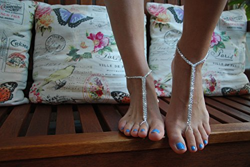 Barefoot Sandals, Wedding White Crochet, Bridal Foot Jewelry, Bridal Shoes, Handmade White Shoes, Sparkle Crystal, Beach (Crystal Footwear)
