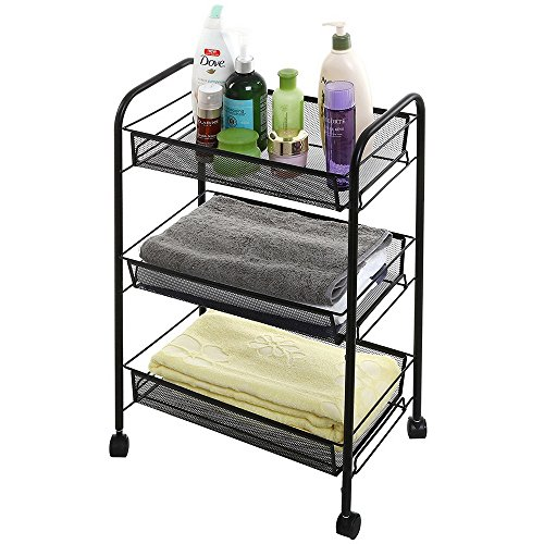 (HomVent Storage Cart,Exquisite Honeycomb Net Three Tiers Storage Cart with Hook Easy Moving,Black)