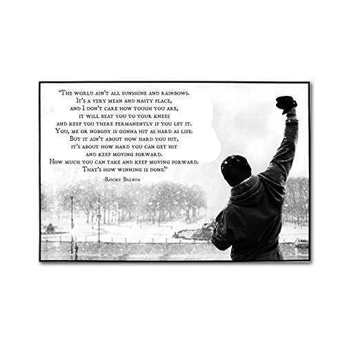 AKI Self-Adhesive Canvas Print 16 x 24 inch Rocky Balboa Hope Qoute Motivational Poster Wall Art (Self Adhesive Print)