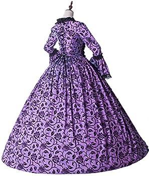 Medieval Renaissance Fairytale Vampire Brocade Dress Masquerade Gown  Theater Cosplay Halloween Costume (M, Purple and Black): Amazon.ae