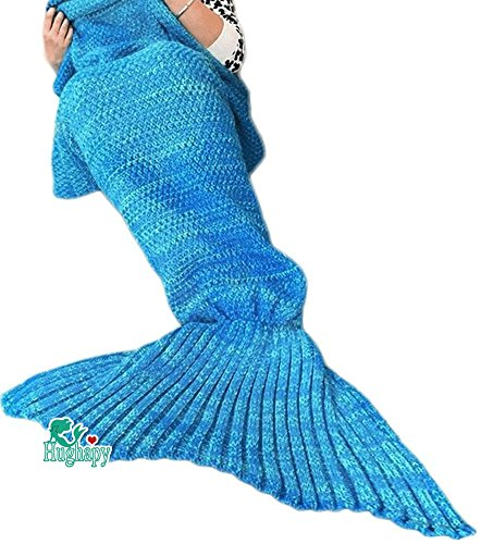 Hughapy Christmas Soft Mermaid Tail Blanket Handmade Living Room Sleeping Blanket For Kids Adult (Blue,Adult)