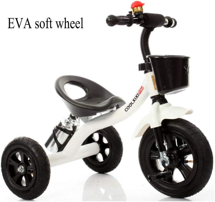 GIFT Triciclo para Niños Trike First Bike, Cuerpo De Acero Al Carbono, Rueda Suave De EVA, Año Nuevo De 2-6 Años,White