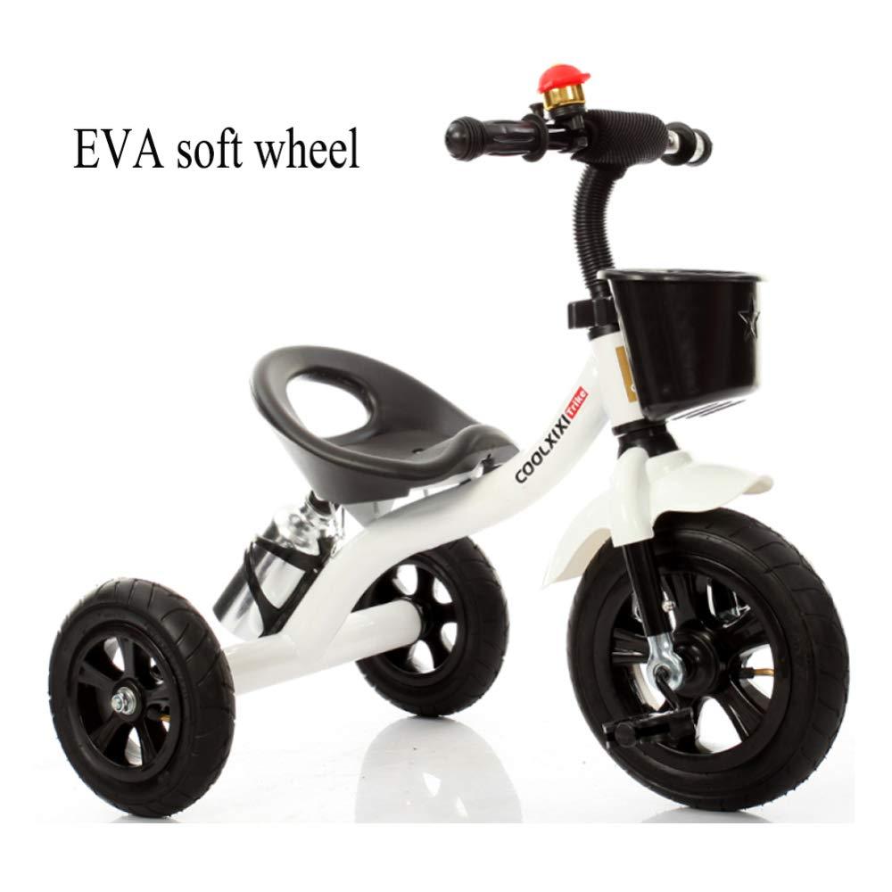 Promoción por tiempo limitado GIFT Triciclo para Niños Trike First Bike 2 In1 con Barra De Manija Desmontable, Cuerpo De Acero Al Carbono, Rueda Suave EVA, 2-6 Años Año, White