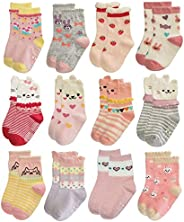RATIVE Non Skid Anti Slip Cotton Dress Crew Socks with Grips for Baby Infant Toddler Kids Girls