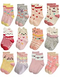 RG-82021 Non Skid Cotton Crew Socks With Grips For Baby Toddler Girls