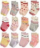 RATIVE Anti Slip Non Skid Crew Dress Socks With Grips For Baby Toddler Kids Little Girls (12-24 Months, 12 Designs/RG-82021)