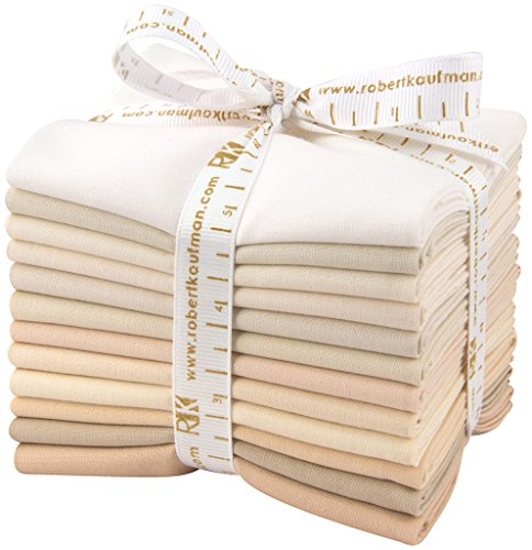 Robert Kaufman KONA COTTON SOLIDS NOT QUITE WHITE Fat Quarter Bundle 12 Precut Cotton Fabric Quilting FQs Assortment FQ-909-12 ()