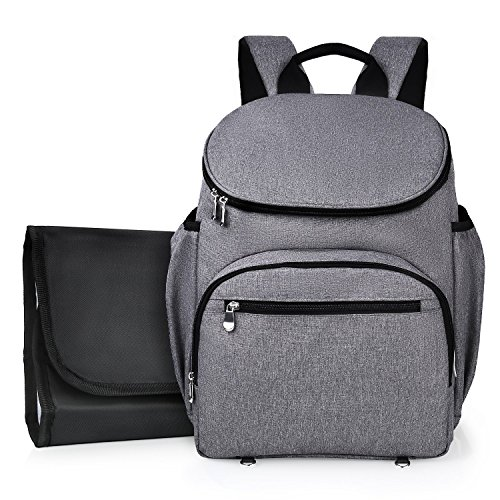 Amzdeal Diaper Bags Diaper Backpack Baby Bags for Dads and Moms with Changing Pad Large Capacity Waterproof Multi-Function Gray by Amzdeal
