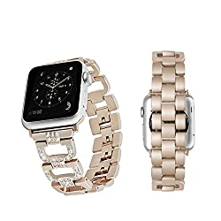 Rockvee Apple Watch Band, Stainless Steel Iwatch Band Replacement Strap For Apple Watch Series 3 Series 2 Series 1 Nike+ Sport Edition - 38mm & 42mm (Champagne Gold, 38mm)