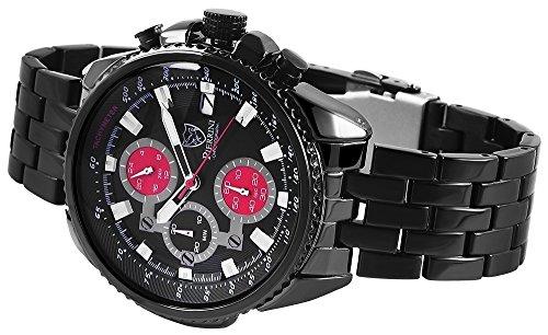 Pierrini herr armbandsur rostfritt stål chronograph svart 29107100002