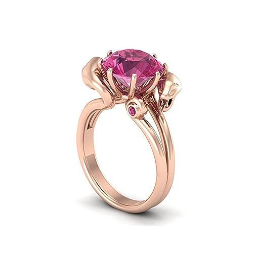 Mejor compromiso anillos de bodas en 2,50 CT rosa Zirconia cúbico corte redondo cristal