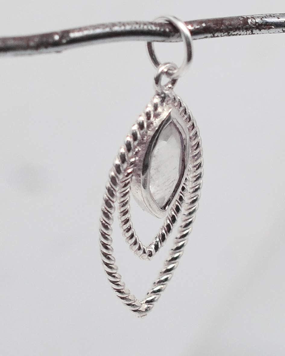 Bijoux fins avec pendentif en argent sterling 925 avec pierre de lune arc-en-ciel