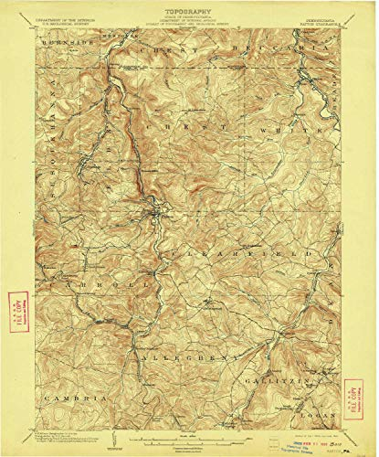 YellowMaps Patton PA topo map, 1:62500 Scale, 15 X 15 Minute, Historical, 1904, Updated 1922, 19.9 x 16.5 in - Tyvek