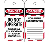 LOTAG10ST250 Polytag National Marker Tags, Lockout, Danger Do Not Operate this Tag Lock, 6 Inches x 3 Inches, Polytag, Box of 250