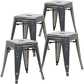 4-Pack Poly and Bark Trattoria 18 Inch Metal Side Dining Chair & Bar Stool