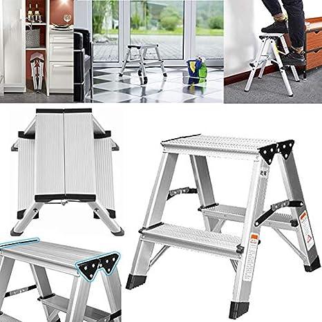MAC - Escalera plegable de aluminio de doble cara de 2 peldaños: Amazon.es: Oficina y papelería