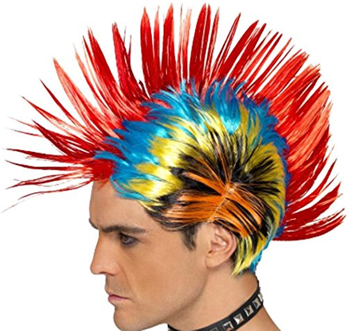 Mens Fancy Party Costume Headwear 80's Mohawk Street Punk Wig Multi-coloured - 1980's Costumes Ebay
