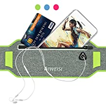 Running Waist Pack,AIWEISI Sweatproof Ultra-thin Sports Belt Fanny Pouch for iPhone 6 6s 7 Plus Samsung Galaxy S5 S6 S7 Edge Note 5 LG HTC for Gym Jogging Biking Workout for Men and Women …