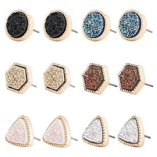 Minshine Cute Stud Earrings Women Fashion Druzy Hypoallergenic Glitter Crystal Drusy Pretty Round Studs Earring Set Delicate Gift Box Jewelry 6 Pairs