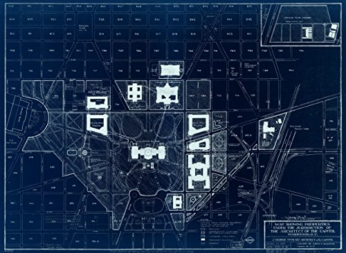 18 x 24 Blueprint Style Reproduced Old Map of: 1967Map showing properties under the jurisdiction of the Architect of the Capitol, Washington, D.C. by United States. Architect of the Capitol - (Architect Of The Capitol Washington Dc)