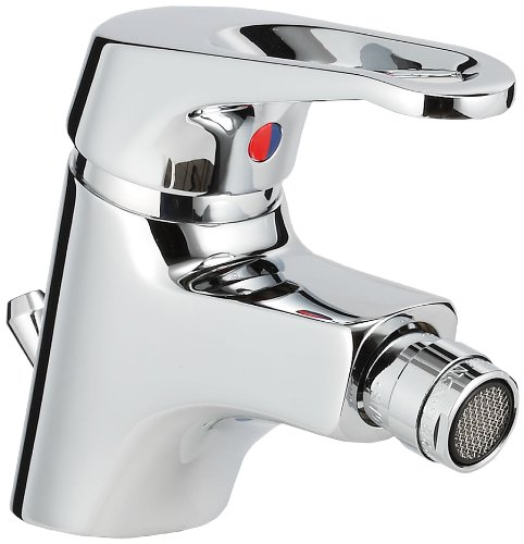 Sanifri SaniLux 470010801 Single-Lever Bidet Mixer Tap with 1 4 Inch Drain Fitting 40 mm Click-Down Kerox Cartridge