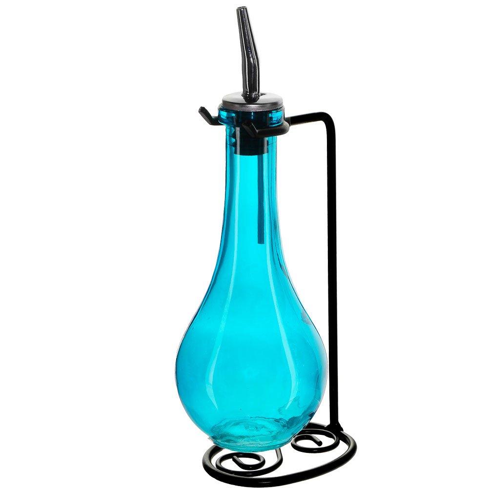 Couronne Company M402-250-09 Drop Single Oil & Vinegar Glass Cruet Set w/Stand, 8 oz, Aqua, 1 Piece