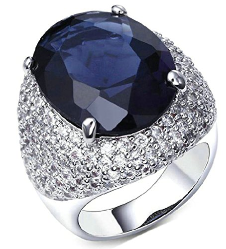 Gnzoe Jewelry, Gold Plated Womens Wedding Ring Cubic Zirconia Blue Birthstone Comfort Notting Hill