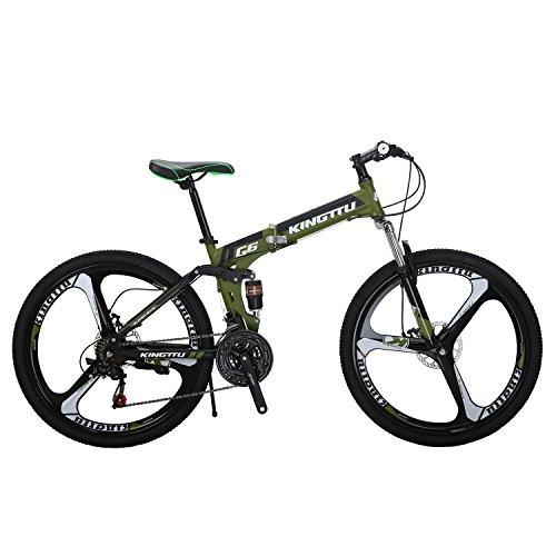 Kingttu G6 Mountain Bike 26 Inches Magnesium 3 Spoke Wheels Dual Suspension Folding Bike 21 Speed MTB