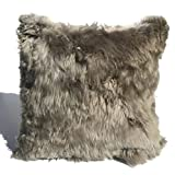 1 Taupe, Fur on ONE side, Luxury Handmade Baby Alpaca Fur, 20''x20'' Decorative pillow. to USA!