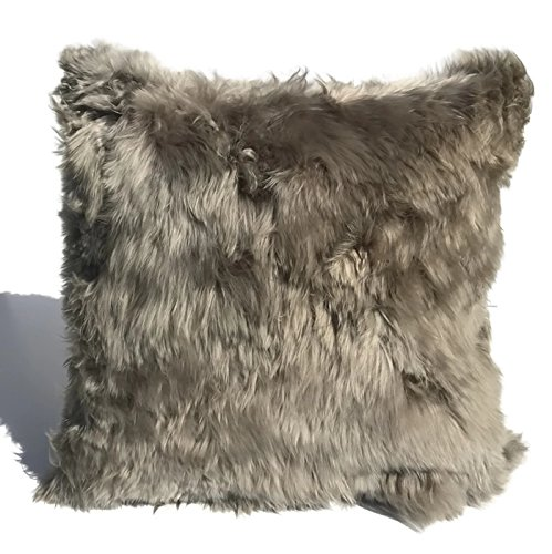 1 Taupe, Fur on ONE side, Luxury Handmade Baby Alpaca Fur, 20''x20'' Decorative pillow. to USA! by Peruvian Accent