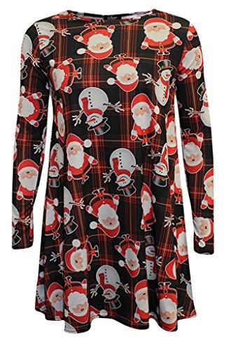 Neuf Pour Femmes Mini Robes Arbres De Noël Noël Père Noël Bonhomme De Neige Renne Rudolph Cadeau Cloches Cadeau Femmes Top Avec Coupe Trapèze - Bonhomme de neige et Père Noël, 36-38