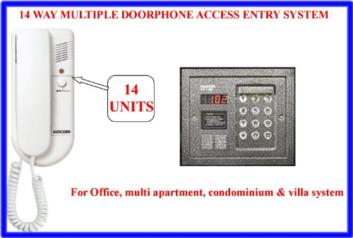 TC96- 14 WAY WIRED MULTIPLE INDOOR DOORPHONE INTERCOM WITH OUTDOOR ACCESS ENTRY CONTROL SYSTEM