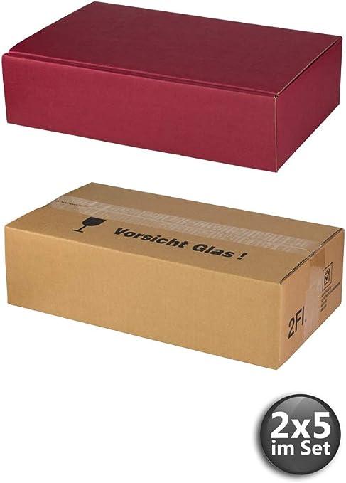 Caja de envío y 2 cajas de vino rojas – 2 x 5 unidades en el set – Vino como regalo: Amazon.es: Oficina y papelería