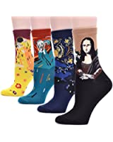 Field4U 4 Pairs Famous Collection Painting Crew Socks