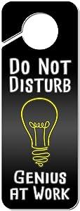 Graphics and More Do Not Disturb Genius at Work Plastic Door Knob Hanger Sign