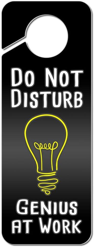 Do Not Disturb Genius at Work Plastic Door Knob Hanger Sign