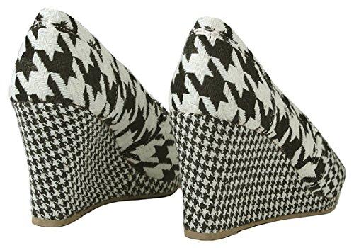 Femmes Peep Toe Confort Mi-talon Talon Robe Formelle Pompes Noir / Blanc_t-31