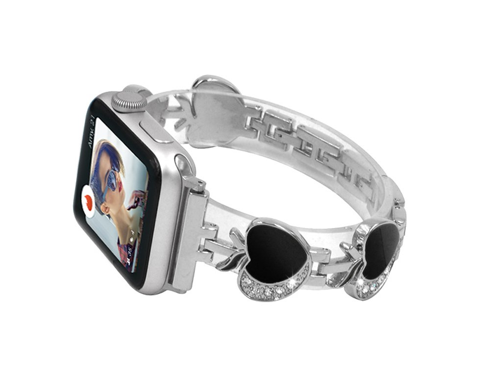 Women Bands for Apple Watch, Crazy Panda Apple Pattern Stainless iWatch Replacement Strap Deluxe Bling Rhinestone Bracelet Wristband for Apple Watch All Version 42mm - Silver Bands & Black Apple