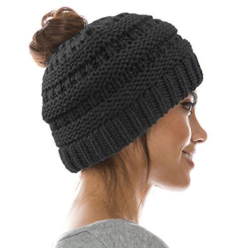 Warm Cable Knit Trendy Messy Ponytail Fashion Bun Hat